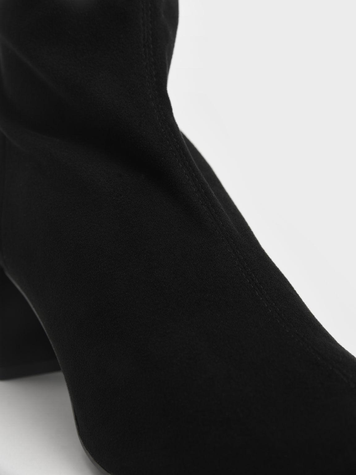 Textured Block Heel Knee Boots, Black Textured, hi-res