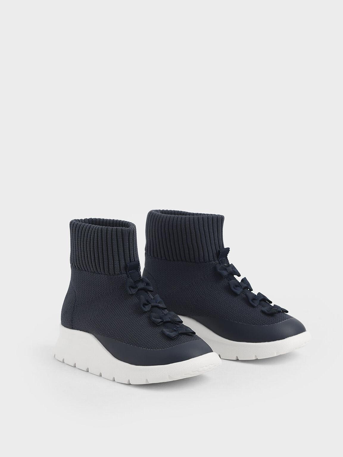 Girls' Knitted High Top Slip-On Sneakers, Dark Blue, hi-res