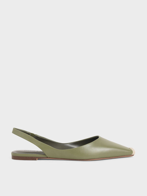 麻繩拼接平底鞋, 橄欖色, hi-res