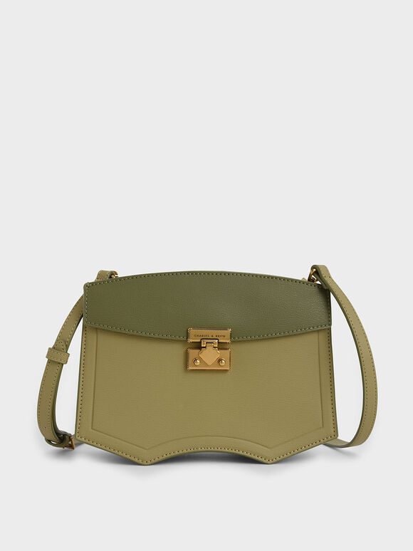 Two-Tone Sculptural Crossbody Bag, Sage Green, hi-res