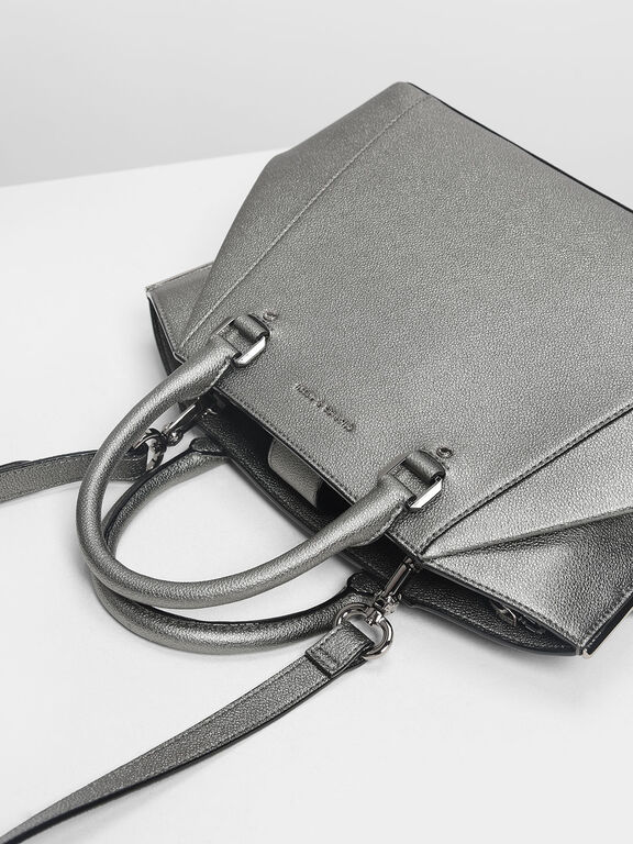 Structured City Bag, Pewter