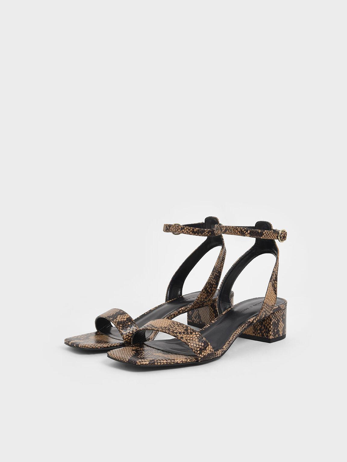 Snake Print Ankle Strap Block Heels, Brown, hi-res