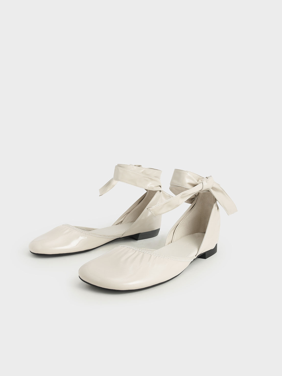 Limited Edition: Patent Tie-Around D'Orsay Flats, Cream, hi-res