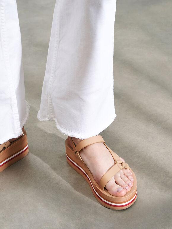 Velcro Strap Flatforms, Nude, hi-res