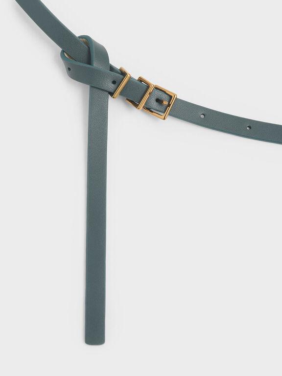 Skinny Knot Belt, Sage Green