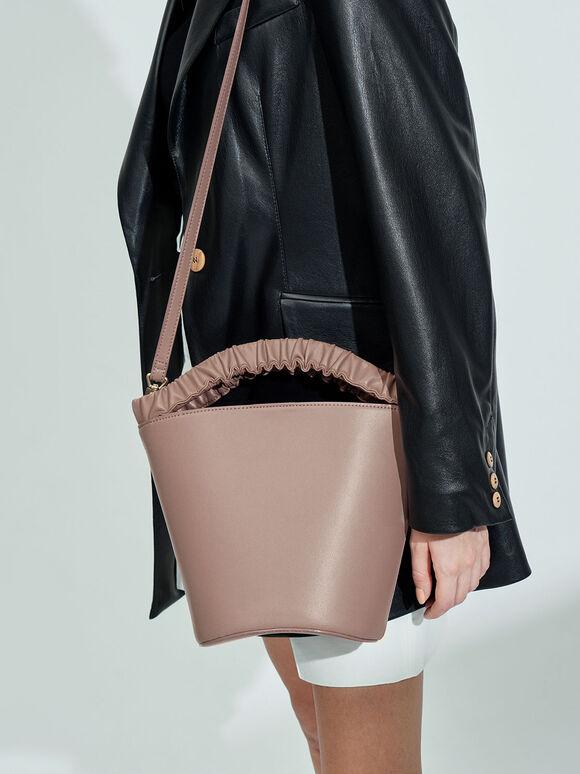 Pleated Handle Bucket Bag, Mauve, hi-res