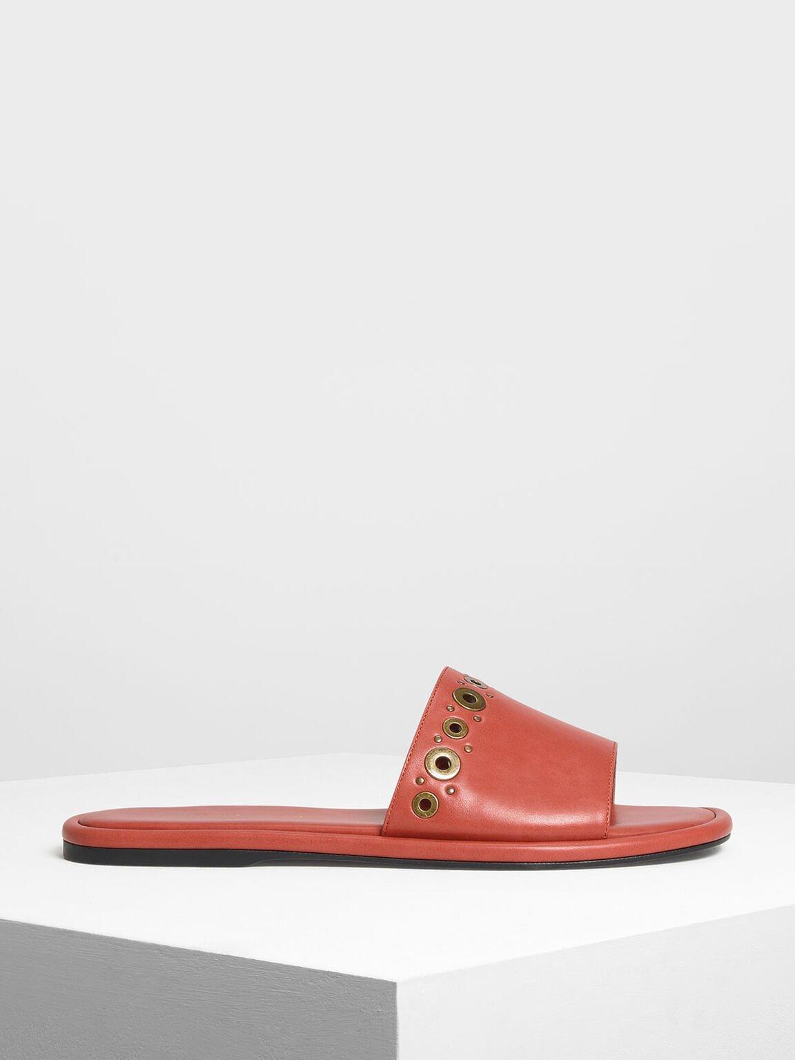 圓孔平底拖鞋, 橘色, hi-res