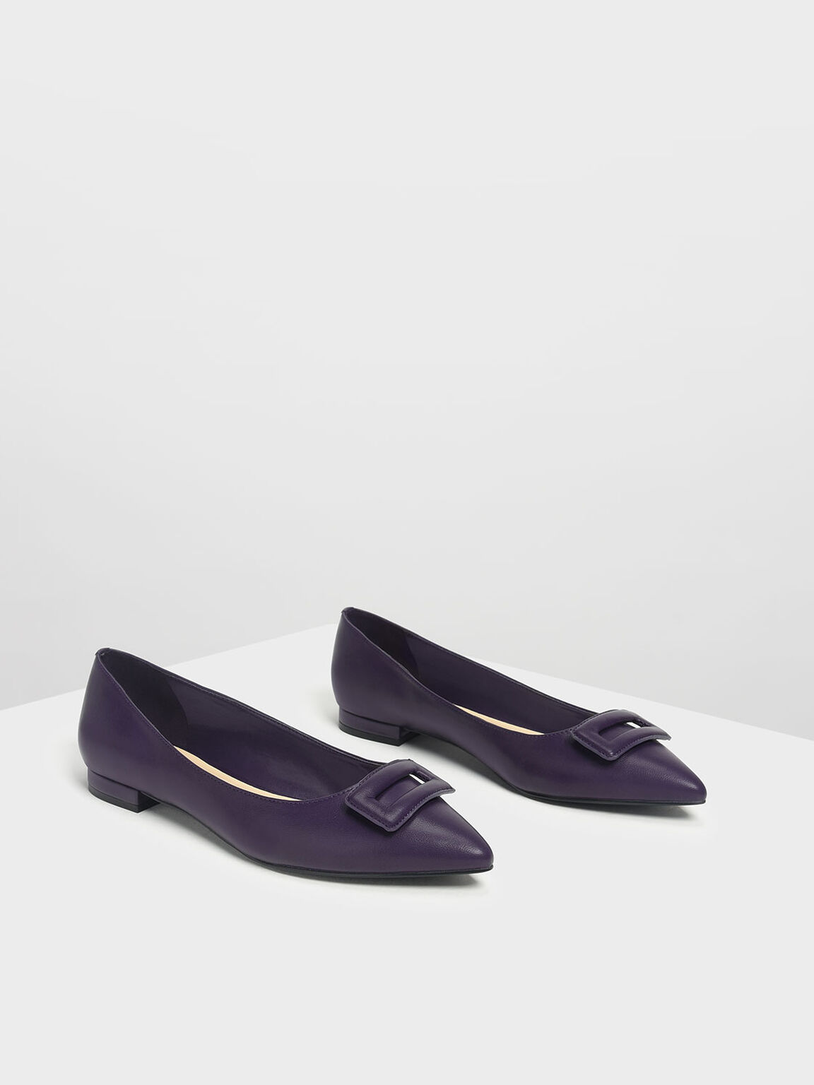 Wrapped Buckle Detail Ballerina Flats, Purple, hi-res