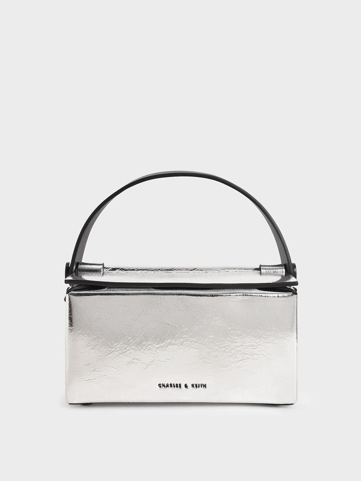 箱型手提包, 銀色, hi-res