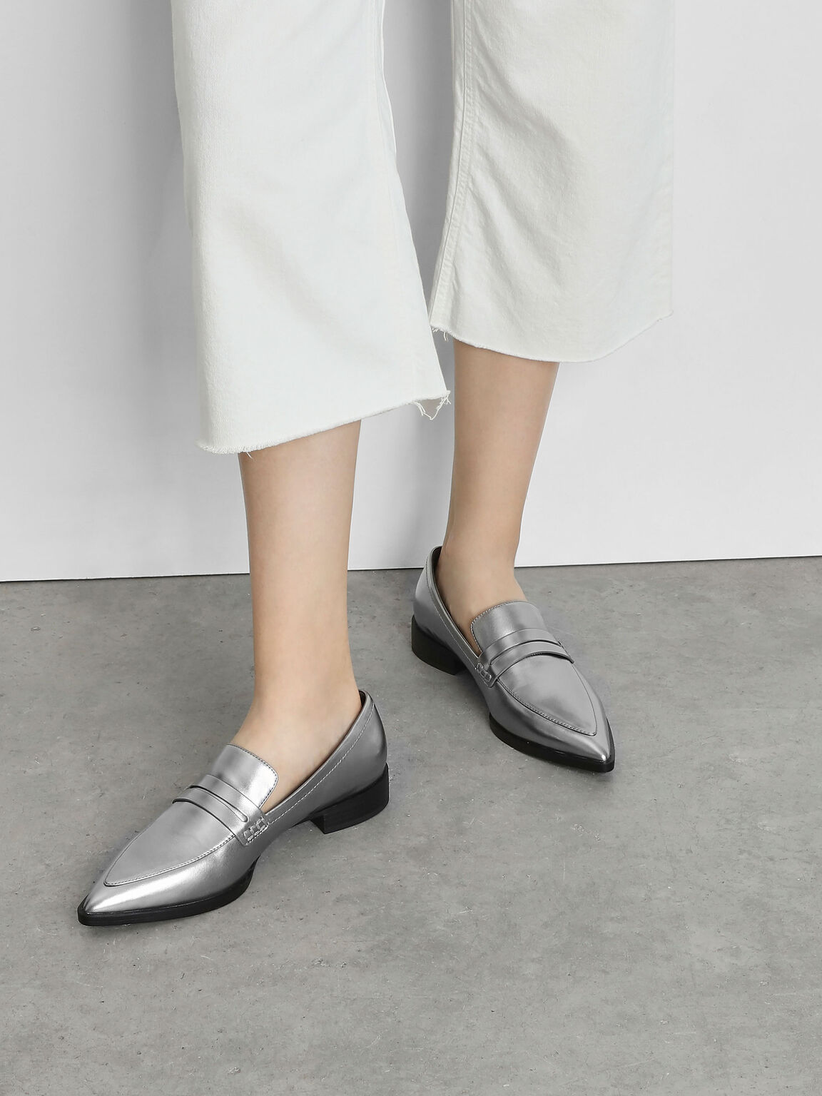Pointed Penny Loafers, Silver, hi-res