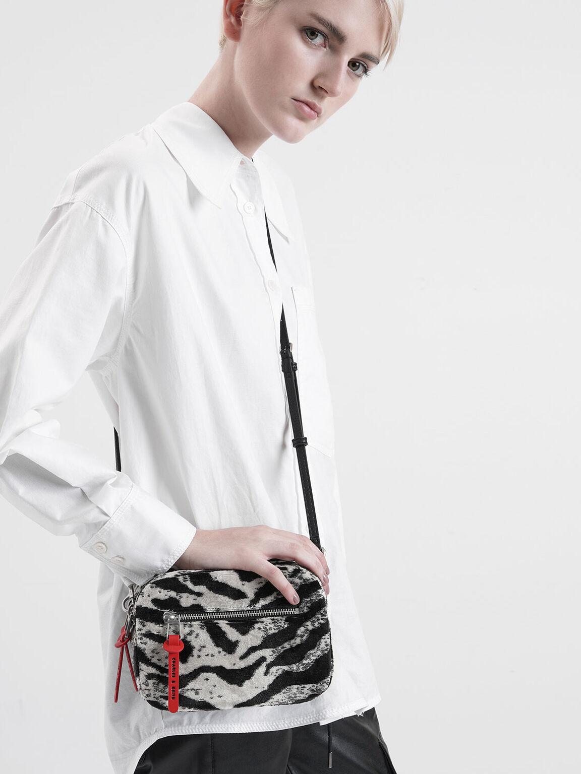 Velvet White Tiger Print Rectangle Crossbody Bag, Multi, hi-res