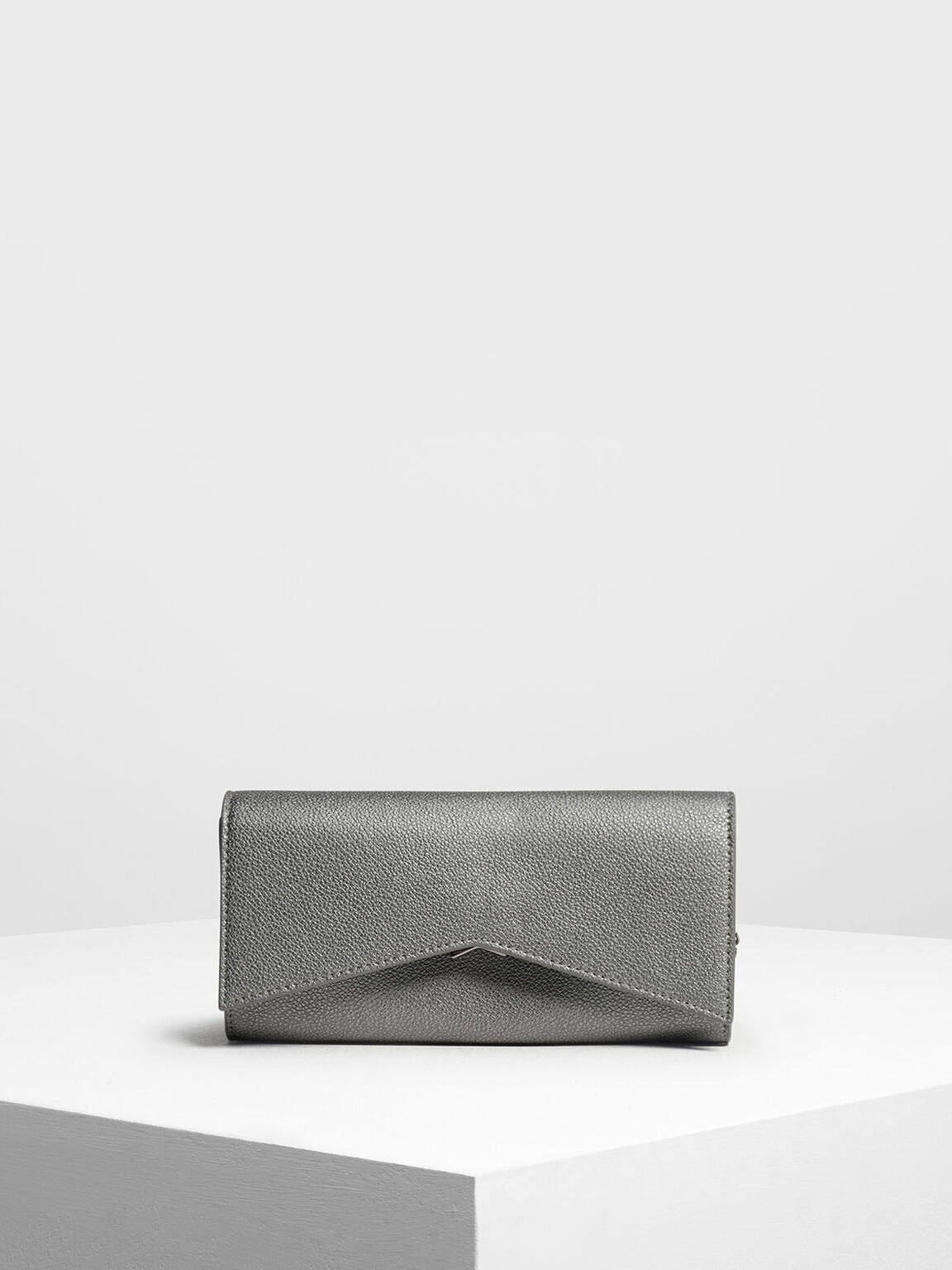 Metallic Accent Long Wallet, Pewter, hi-res