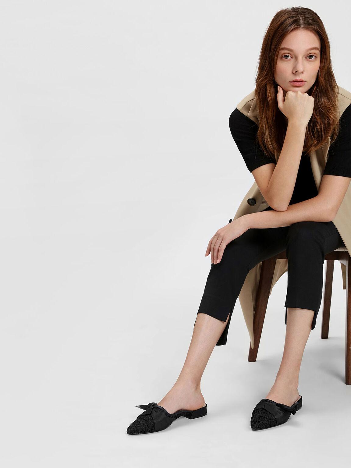 Crochet Lace Slip Ons, Black, hi-res