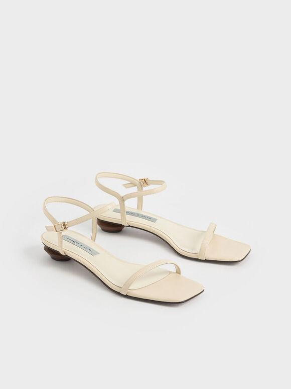 一字帶低跟涼鞋, 石灰白, hi-res