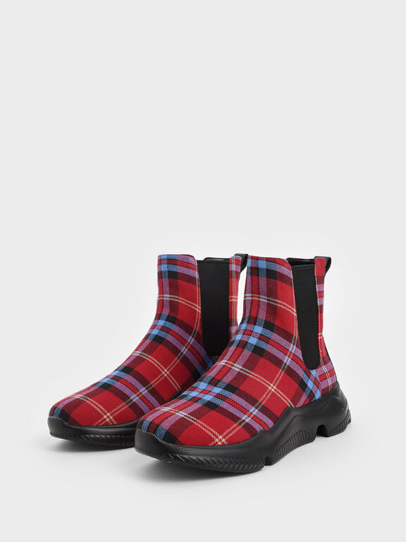 Check Print Chunky Sole Chelsea Boots, Red