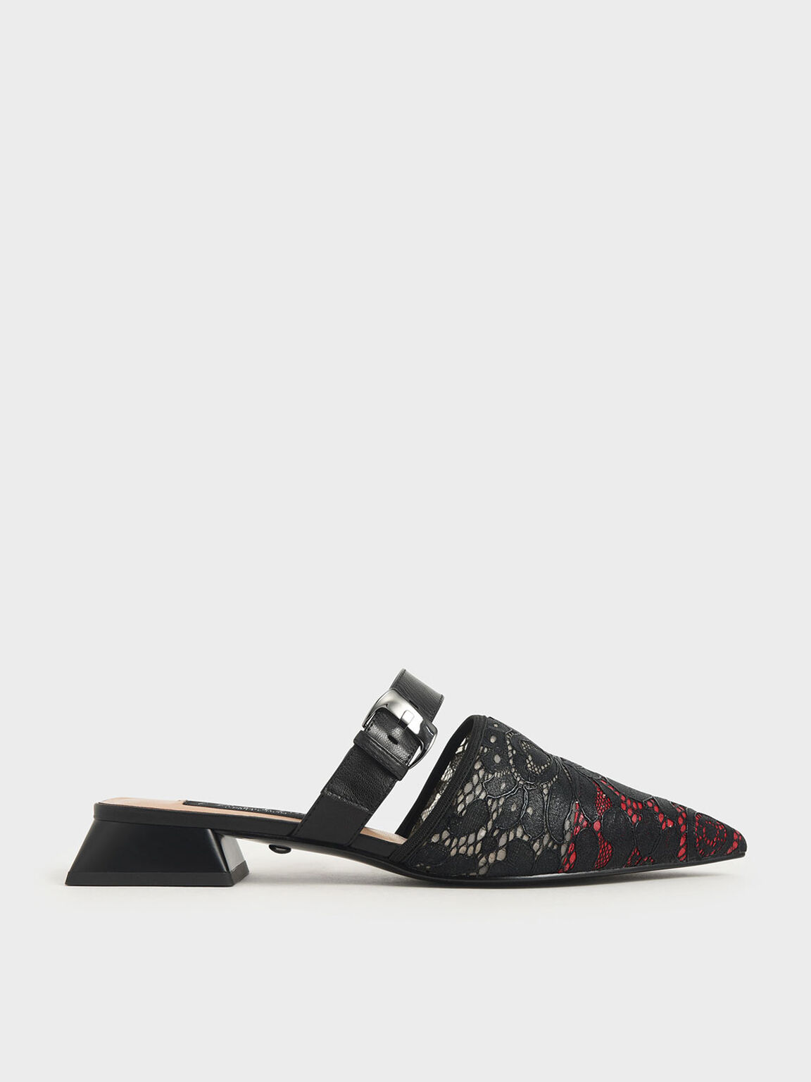 Leather Lace Pointed Mules, Red, hi-res