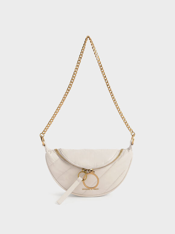 Wrinkled-Effect Half-Moon Crossbody Bag, Ivory, hi-res
