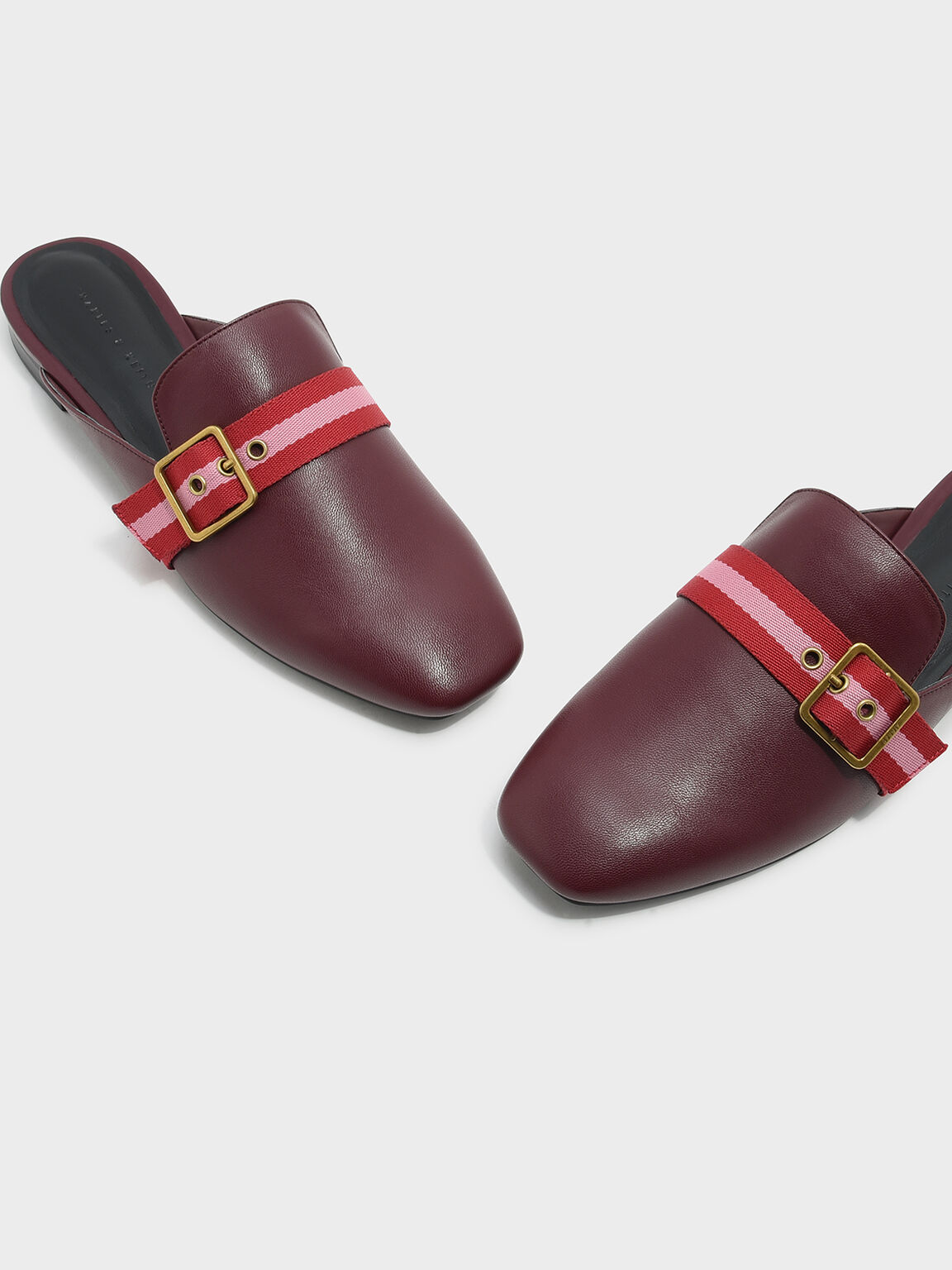 Buckle Flat Mules, Burgundy, hi-res