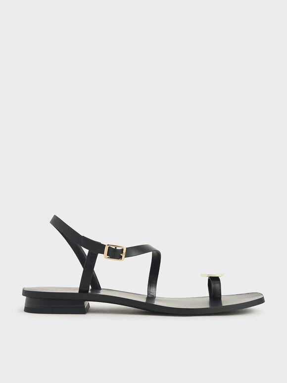金屬片夾腳涼鞋, 黑色, hi-res