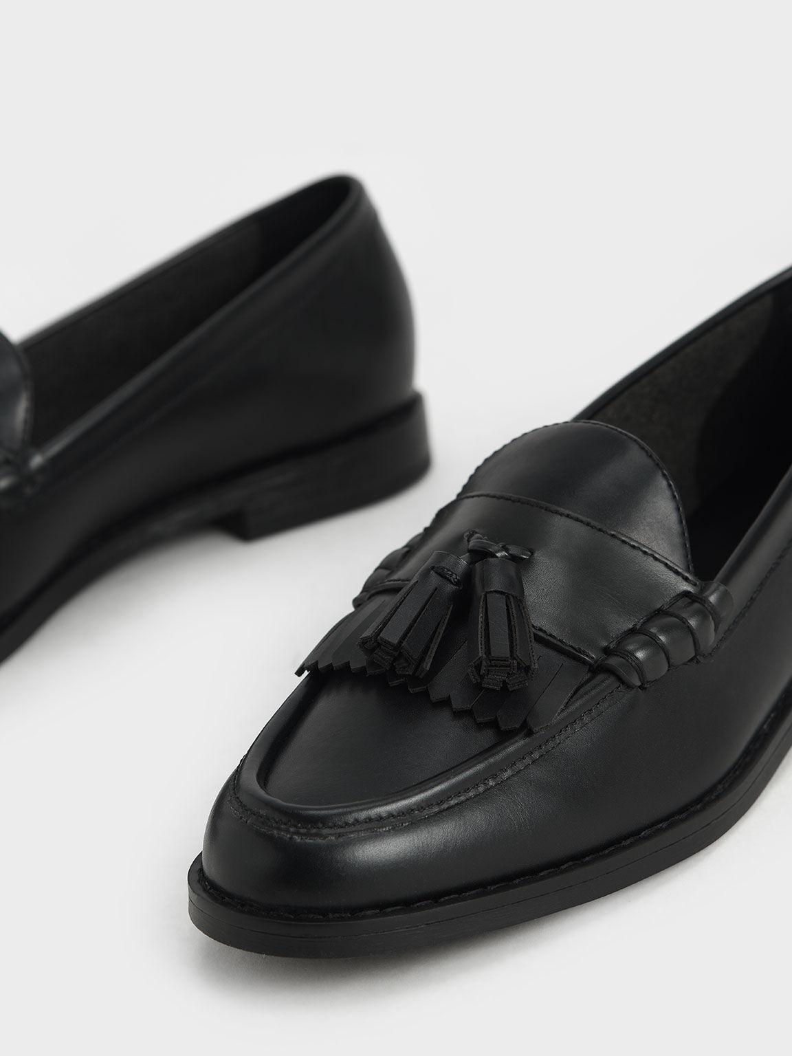 流蘇樂福鞋, 黑色, hi-res