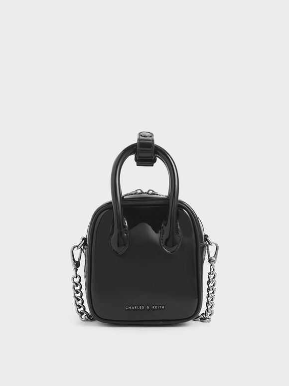 Mini Patent Square Pouch, Black, hi-res