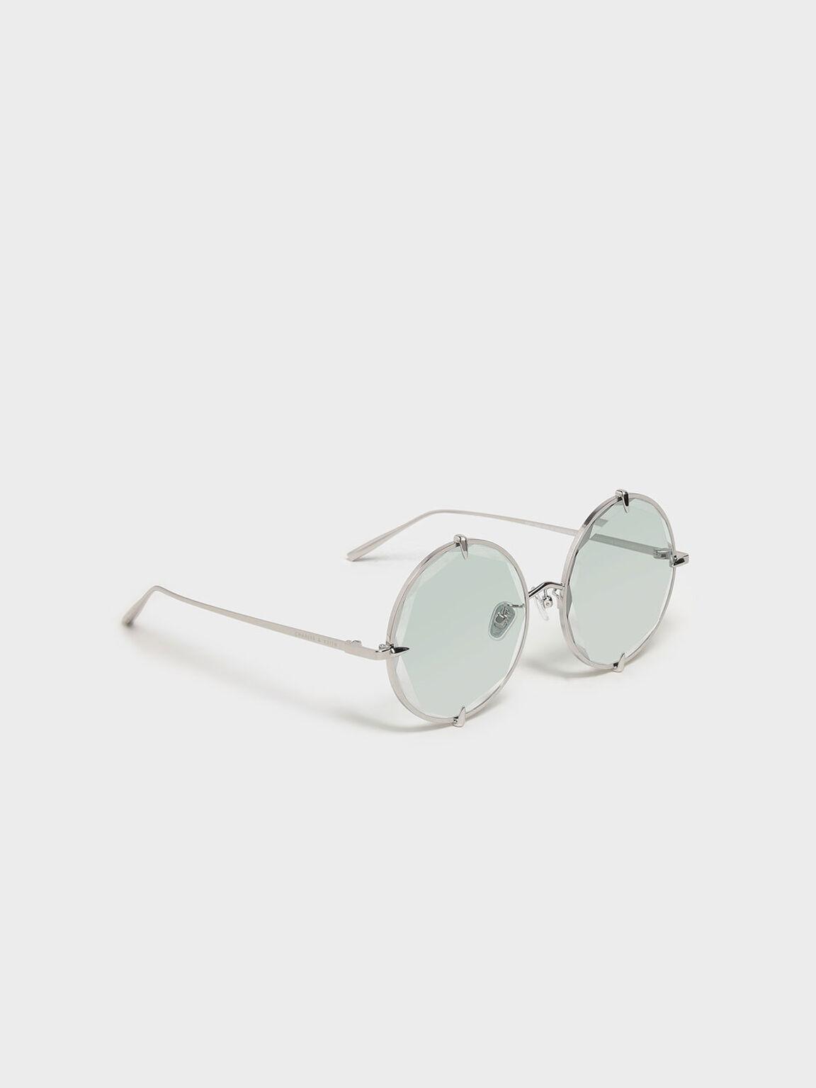 Round Wire Frame Skinny Sunglasses, Multi, hi-res