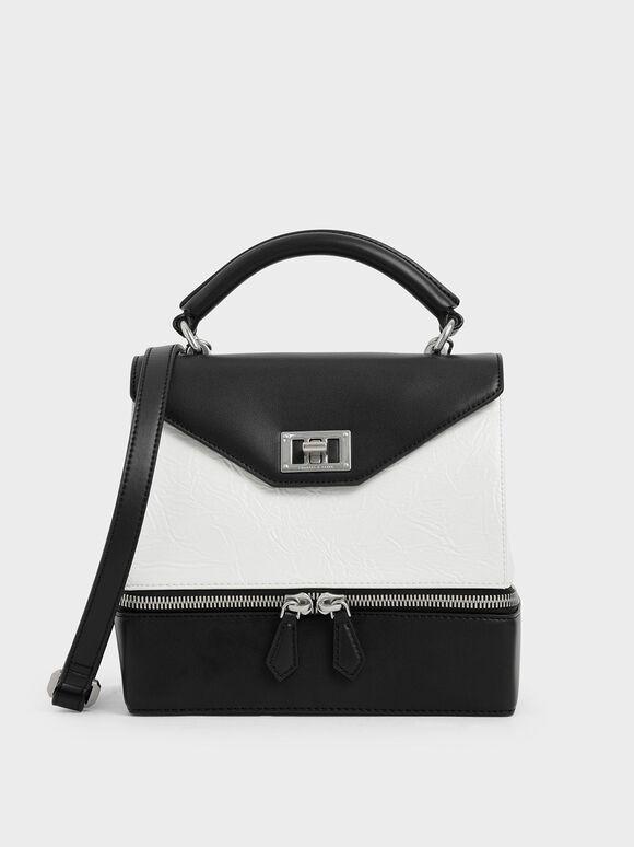Wrinkled Effect Two-Way Zip Top Handle Bag, White, hi-res