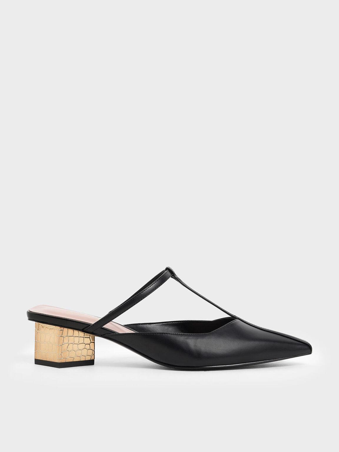 金屬粗跟尖頭鞋, 黑色, hi-res