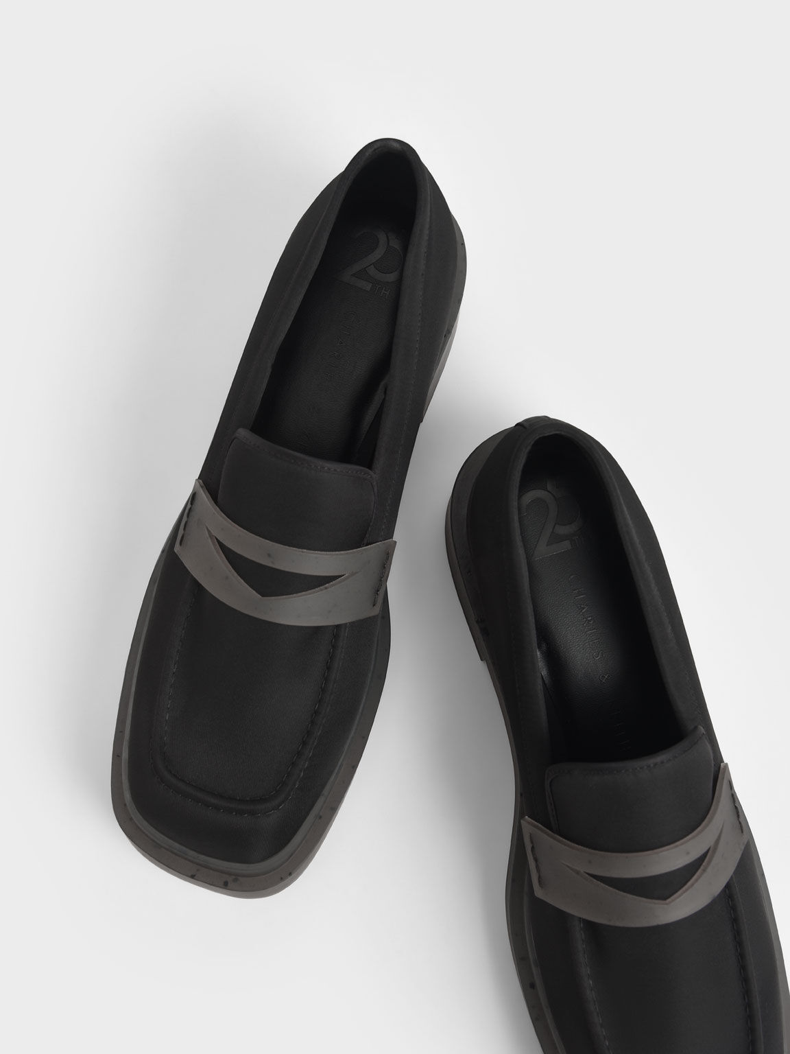 The Anniversary Series: Charli Recycled Nylon Penny Loafers, Black, hi-res