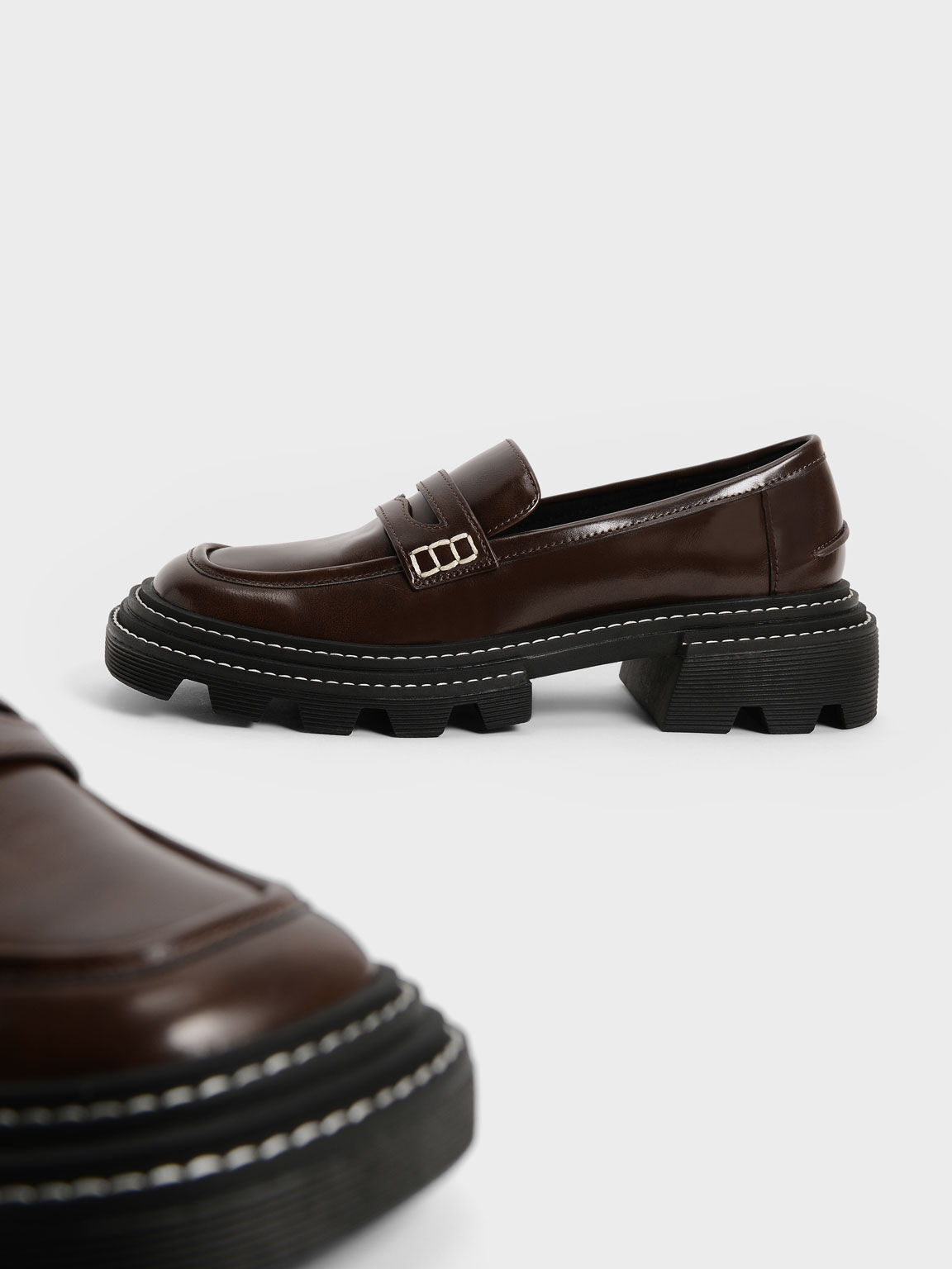Perline Chunky Penny Loafers, Dark Brown, hi-res