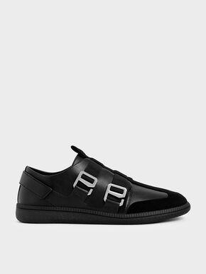 Buckle Slip-On Sneakers, Black