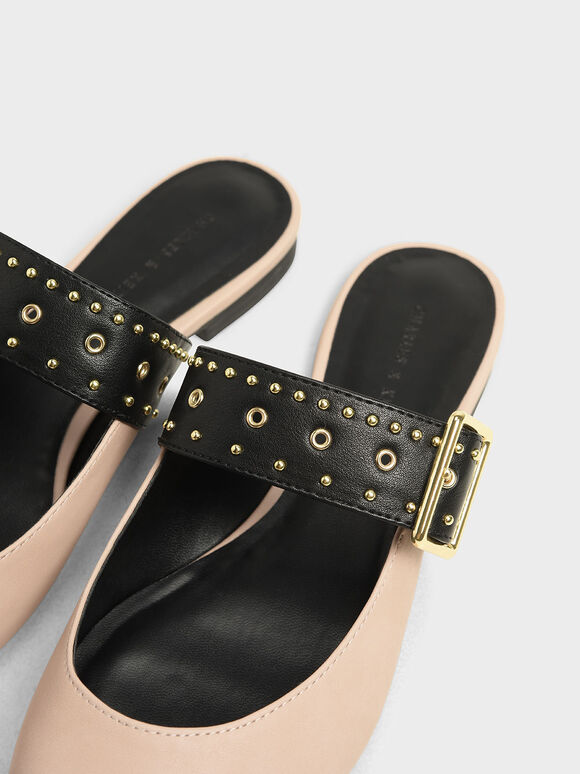 鉚釘尖頭拖鞋, 淺粉色, hi-res