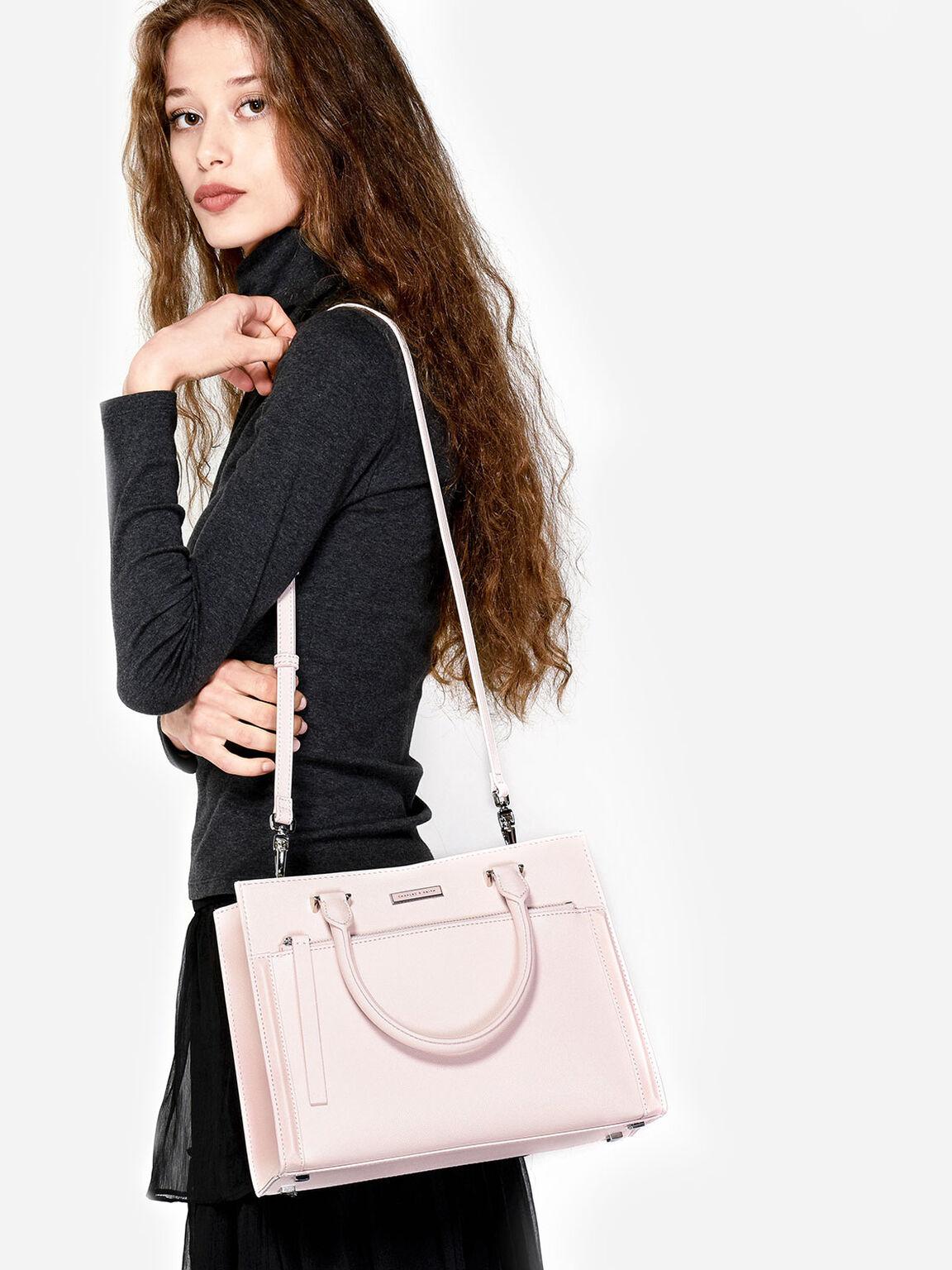 Front Zip Handbag, Pink, hi-res