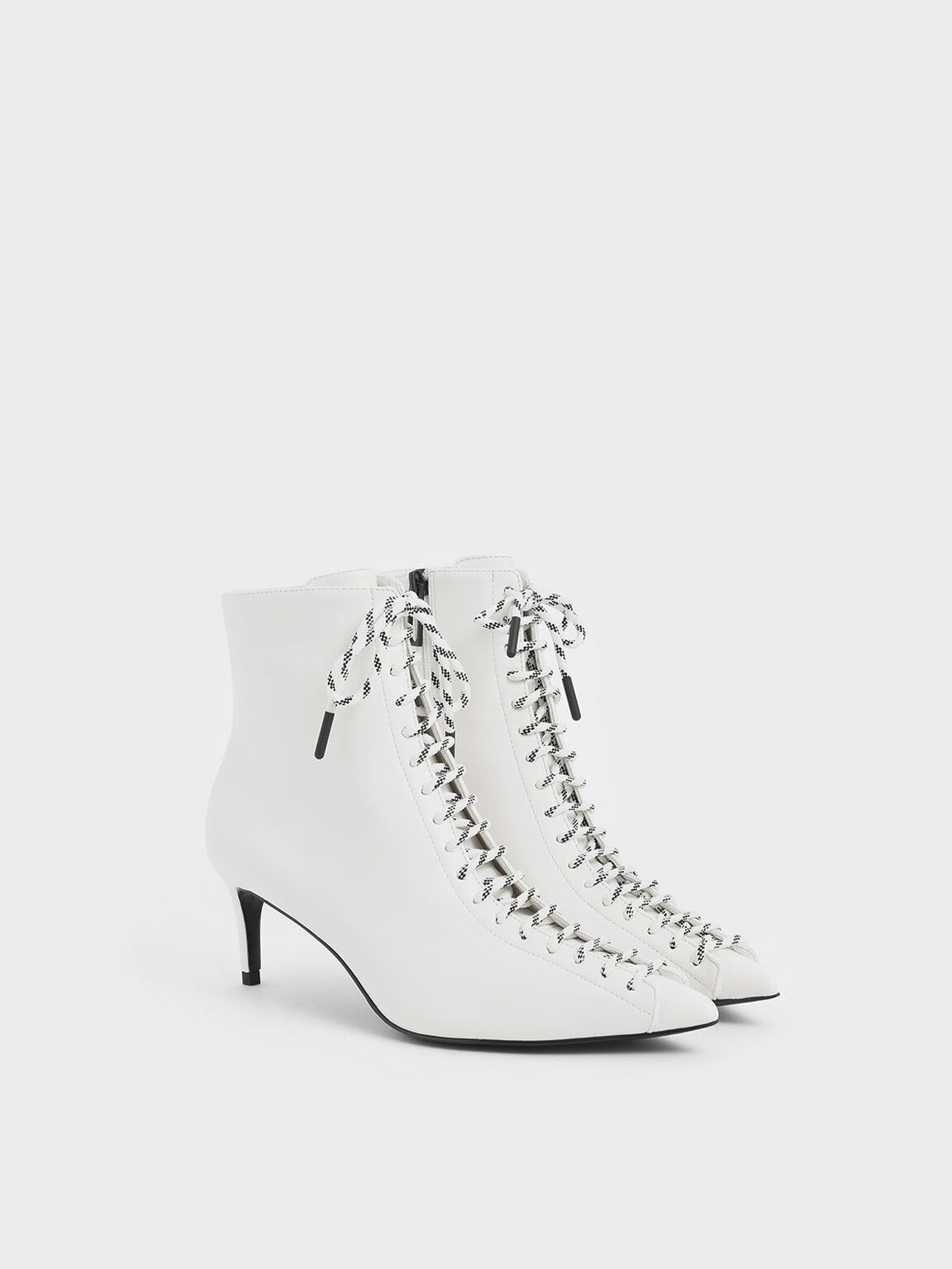 Nylon Lace-Up Ankle Boots, White, hi-res