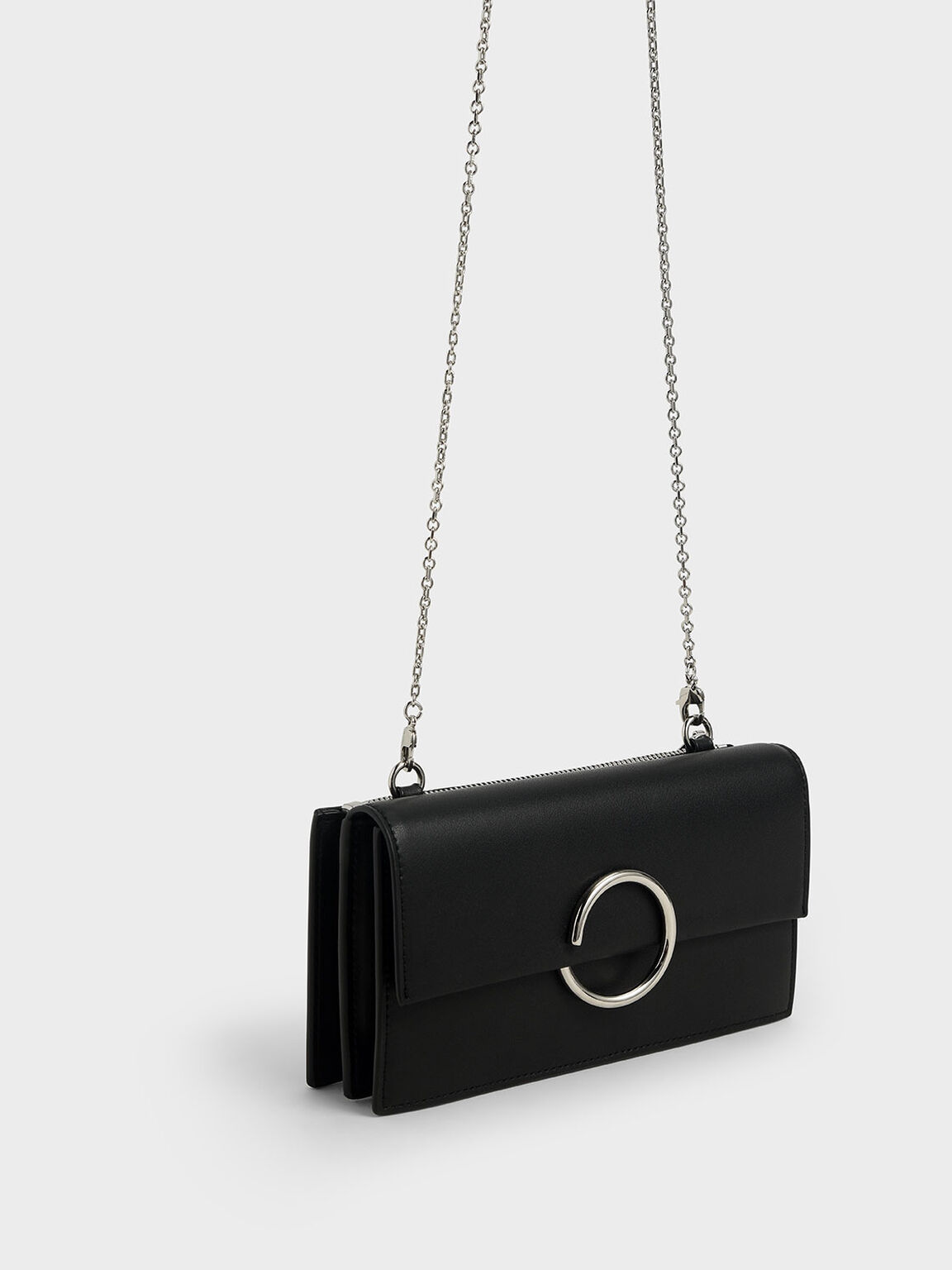 Ring Detail Long Wallet, Black, hi-res