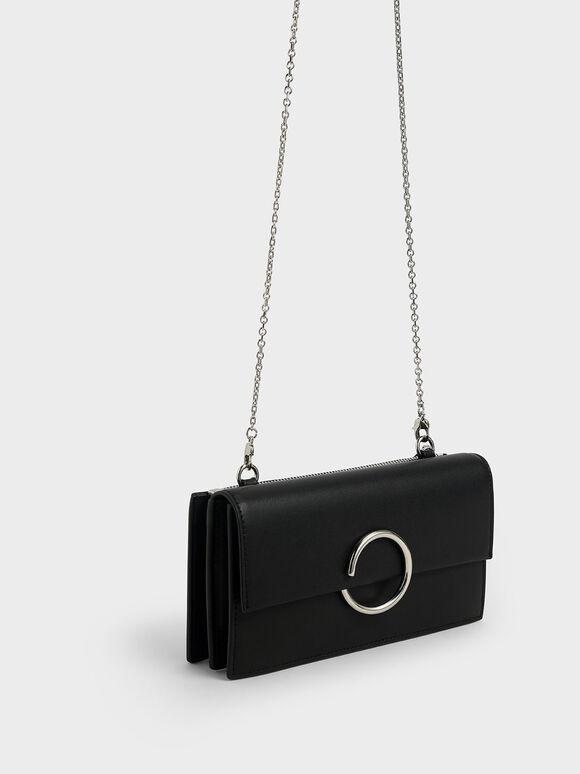 Ring Detail Long Wallet, Black, hi-res