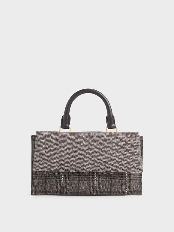 Tweed Rectangular Top Handle Bag, Multi, hi-res