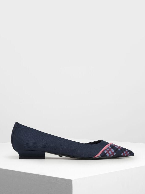 Asymmetrical Check Print Ballerinas, Blue, hi-res