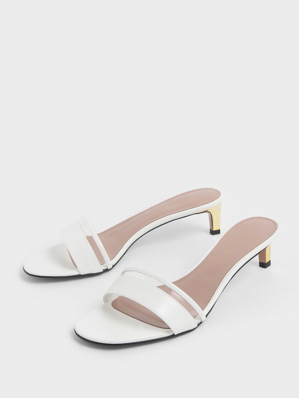 Clear Strap Kitten Heel Slide Sandals, White, hi-res