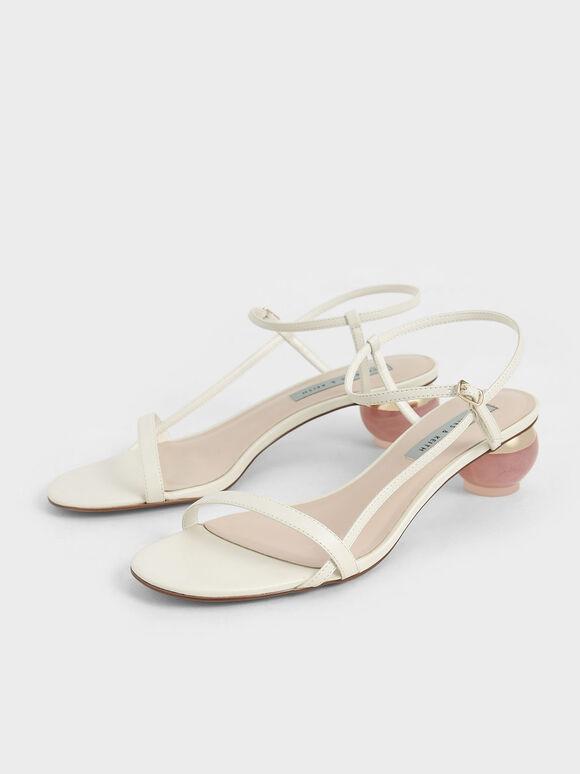 Sculptural Heel Ankle Strap Sandals, Chalk, hi-res