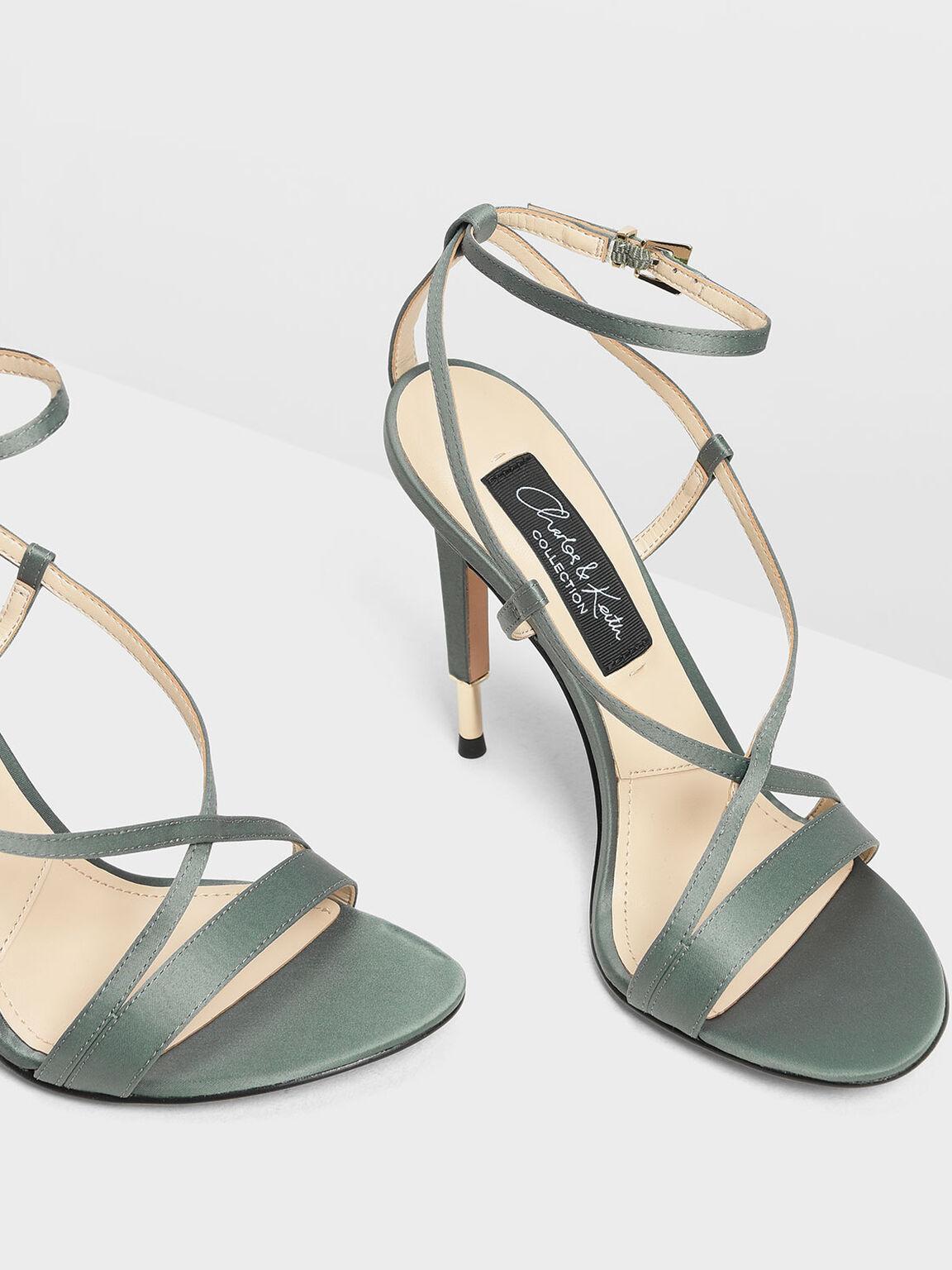 交叉帶高跟涼鞋, 灰綠色, hi-res