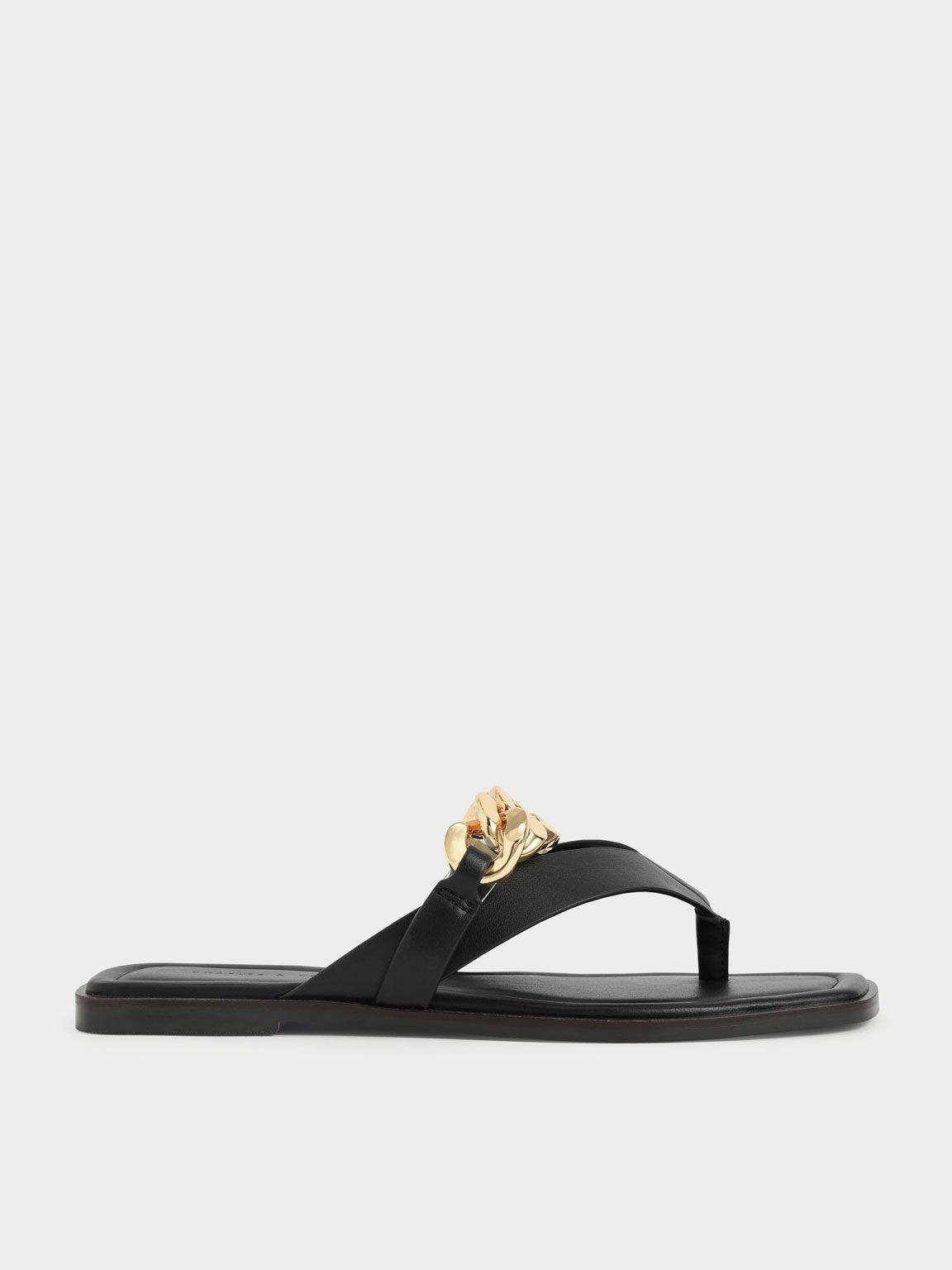 Chain Strap Thong Sandals, Black, hi-res