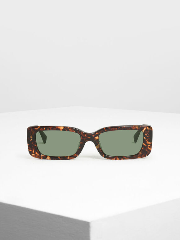Thick Frame Rectangle Sunglasses, T. Shell, hi-res
