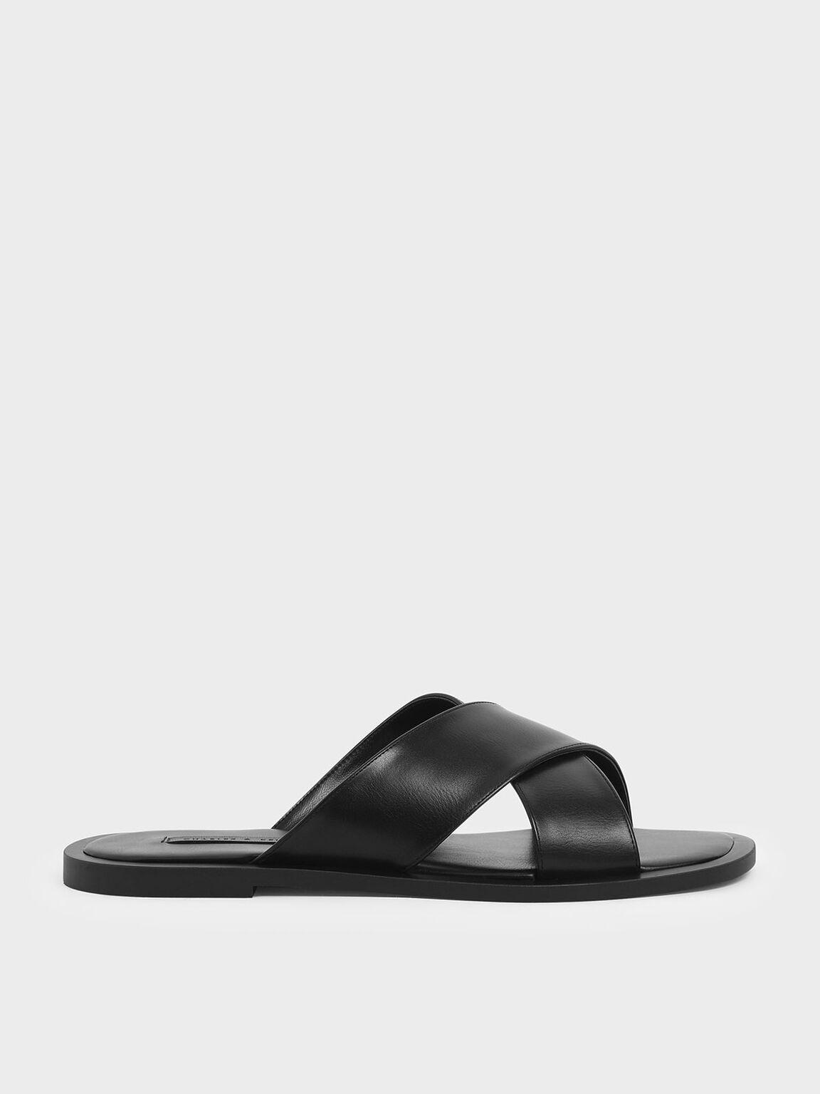 Criss Cross Slide Sandals, Black, hi-res