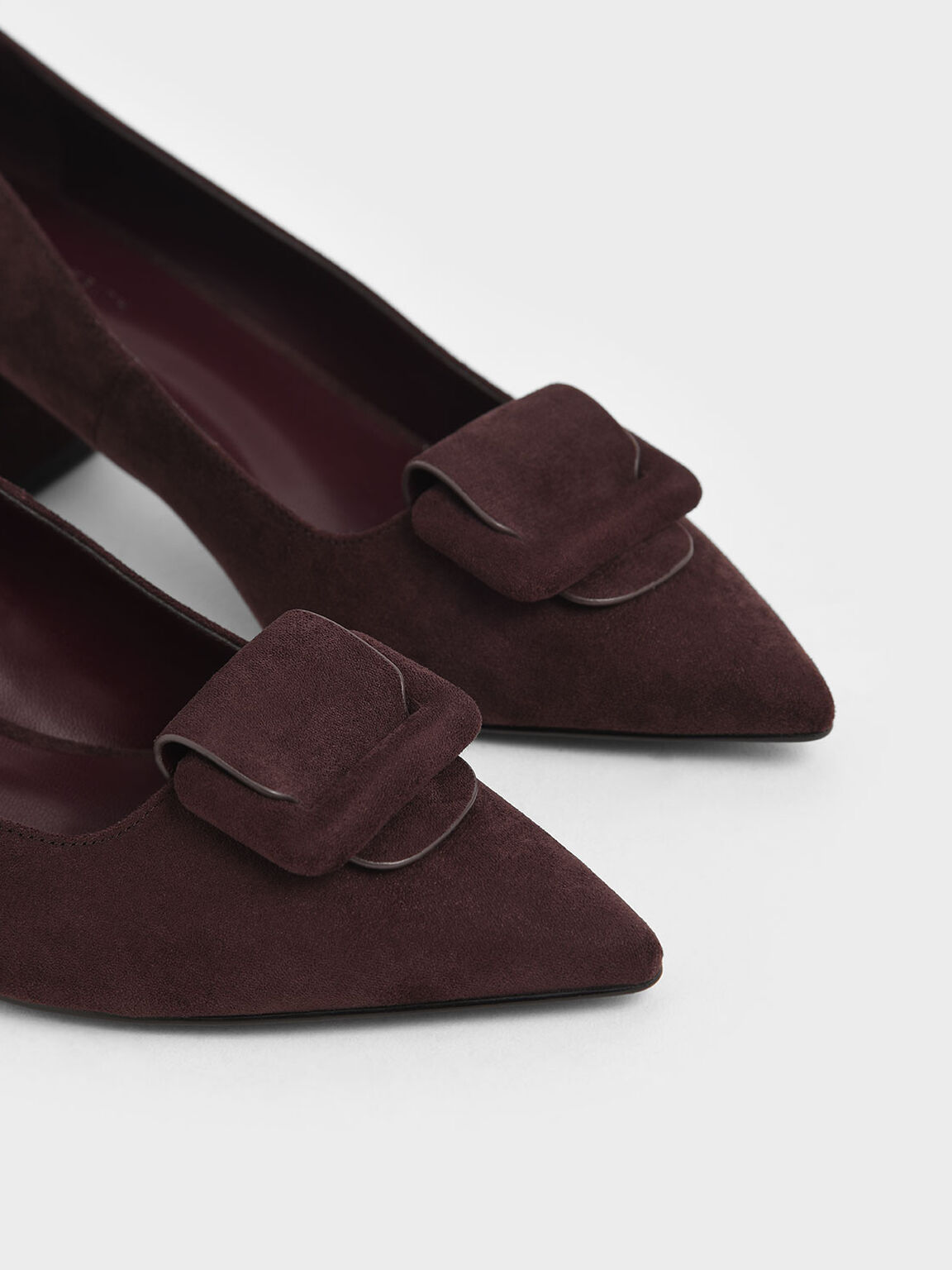 Front Buckle Textured Pumps, Maroon, hi-res