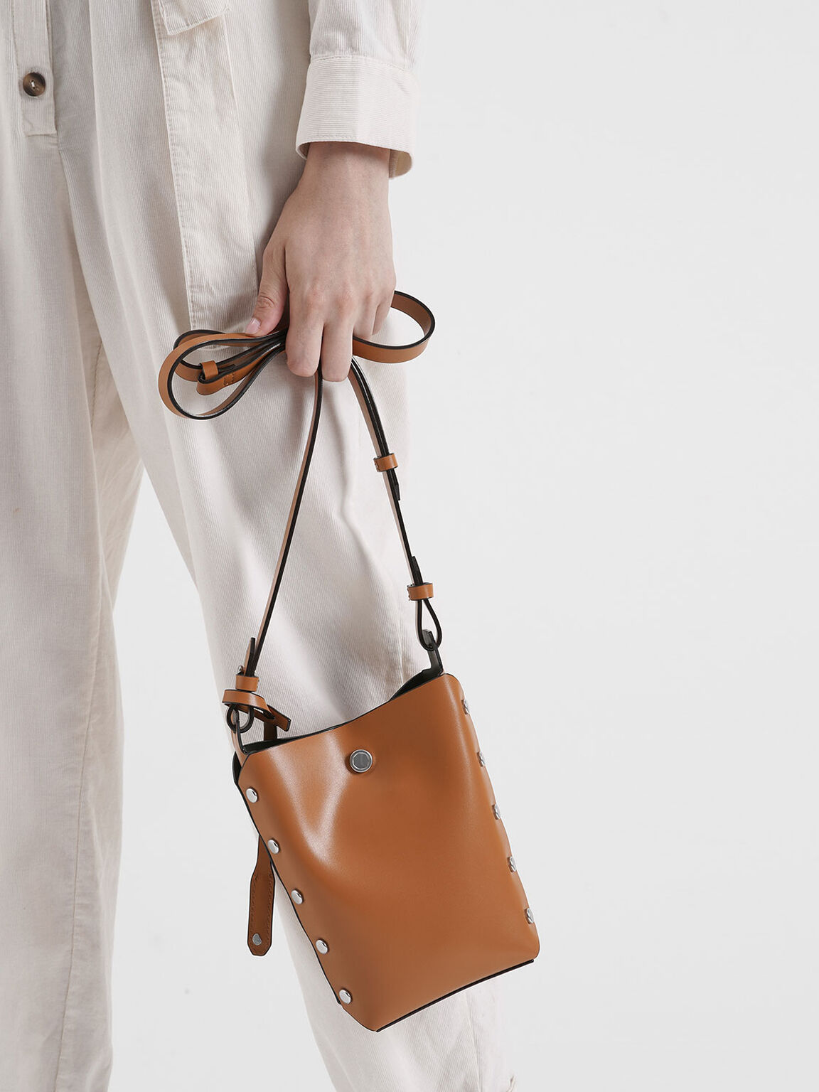 Mini Reversible Studded Crossbody Bag, Tan, hi-res