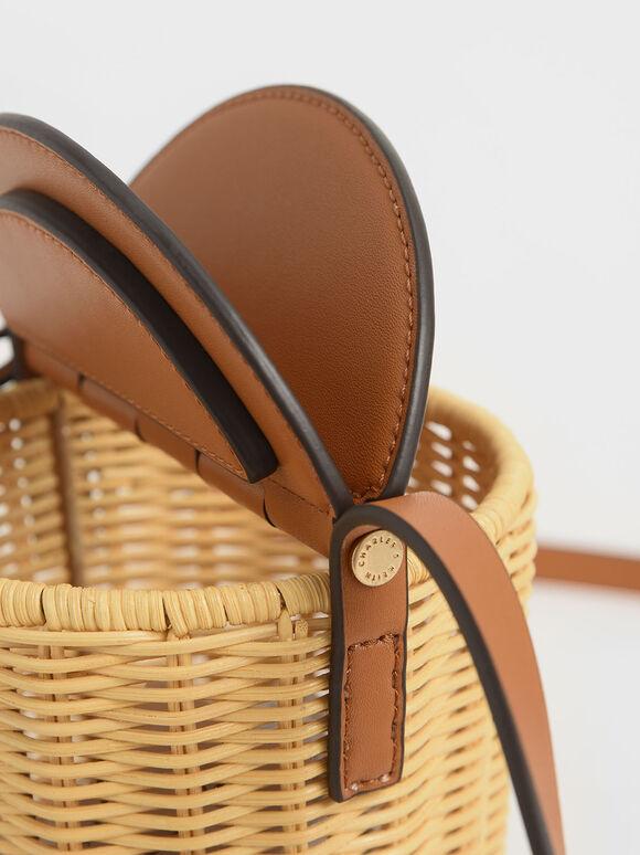 Rattan Cylindrical Crossbody Bag, Cognac, hi-res