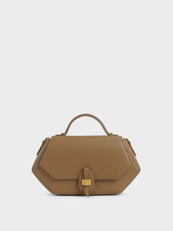 Top Handle Geometric Bag, Khaki, hi-res