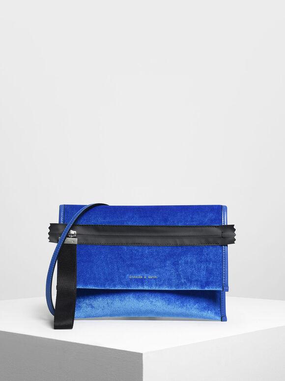 Nylon Strap Zipper Clutch, Blue, hi-res
