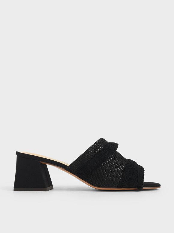 Woven Fabric Mules, Black, hi-res